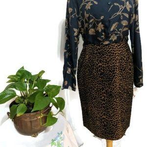 Vintage Velveteen Leopard Print Pencil Skirt